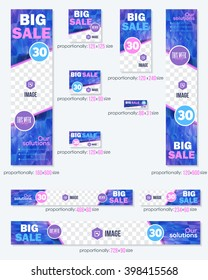 Big Sale Concept Violet Colors Low Poly Abstract Background, Business Standard 10 Sizes Website Banners Template Big Set