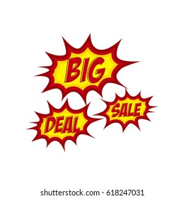 Big sale and deal cartoon letter