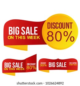 Big Sale, discount up to 80% off. Vector illustration.