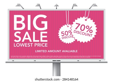 Big sale discount billboard, vector illustration - eps 10