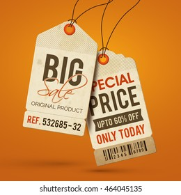 Big Sale, Discount or Special Price Tags, Labels design on orange background.