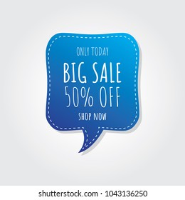 Big Sale and Discounts Only Today Blue Banner. Vector Illustration.