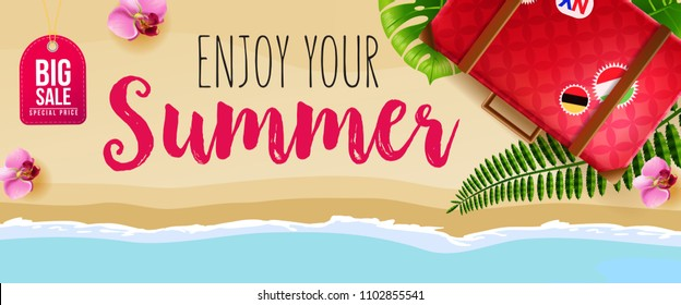 Big sale, enjoy your summer banner design with pink flowers, red travel bag, beach and ocean. Handwritten text can be used for signs, labels, flyers, posters
