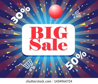 Big Sale explosion design with radiating rays around text over a blue background with thirty and fifty percent reductions and shopping trolleys in an online concept