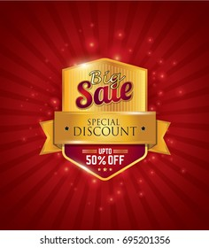 Big Sale Festival Sale Design Template with 50% Discount Tag on Red Background - Big Sale