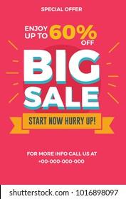 Big sale flyer. Vector illustration for social media banners, poster, flyer and newsletter designs