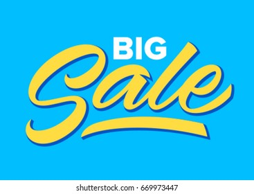 big sale, handwritten word, calligraphy, lettering