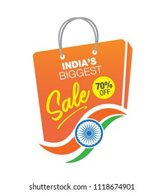 Big Sale Indian Independence Day Template Design with Shopping Bag and Tri Color Indian Flag, 70% Discount Tag