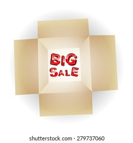 Big Sale. The inscription of the three-dimensional letters in an open box. To use for promotional purposes.