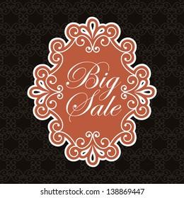 big sale label over black background. vector illustration