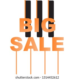 Big sale letters in the form of piano. Letters on piano. Adv of piano.