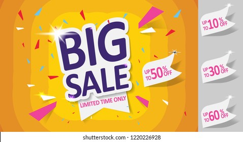 Big Sale, Mega. this weekend special offer banner, up to 10% 30% 50% 60% off. Vector illustration.
