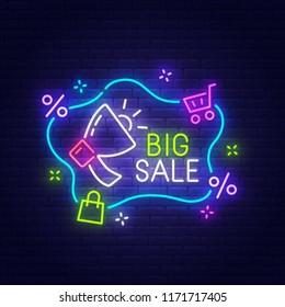 Big Sale neon sign, bright signboard, light banner. Sale tag logo, emblem. Vector illustration