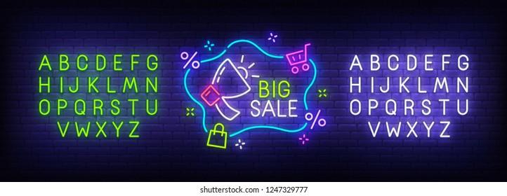 Big sale neon sign, bright signboard, light banner. Sale logo. Neon sign creator. Neon text edit. Vector illustration