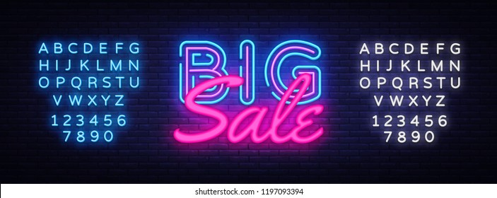 Big Sale neon text vector design template. Big Discount neon logo, light banner design element colorful modern design trend, night bright advertising, bright sign. Vector. Editing text neon sign