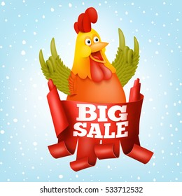 Big sale new year concept card with rooster character Vector illustration