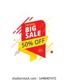 Big Sale, Offer Banner, Sticker Design with 50 Discount Tag