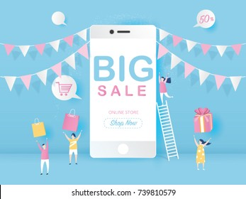 Big Sale on mobile phone for online sale with four young joyful people design for website banner or poster sale. Pastel color, Vector illustration.