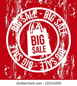 big sale over red background. vector illustration