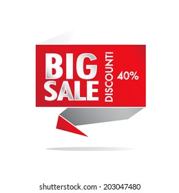 Big Sale and percentage discount wording on red roll paper, discount promotion, in pop art style