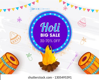 Big sale poster or banner design with illustration of festival elements for Happy Holi celebration.