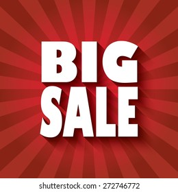 Big sale poster design with bold font and long flat shadow for 3d effect. Red rays of light in the background of the flyer. Eps10 vector illustration.