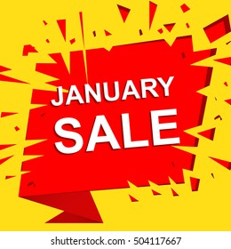 Big sale poster with JANUARY SALE text. Advertising boom and red vector banner template