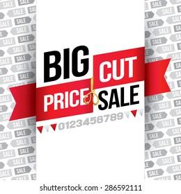Big Sale. Price Cut. Vector Illustration