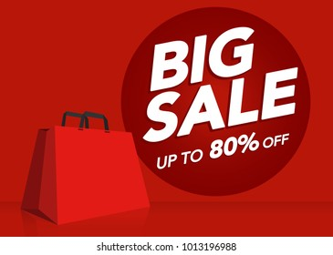 Big sale price tag shopping bag red isolated background commercial promotion theme concept, Illustration vector