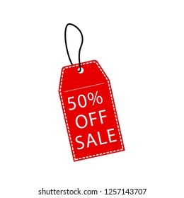 Big sale promotion 50% off red tag symbol.