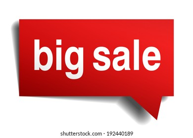 Big sale red 3d realistic paper speech bubble isolated on white