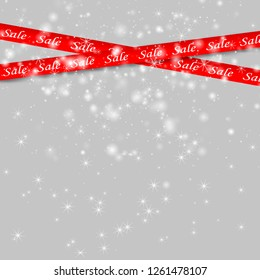 Big sale red banners. Set of warning tapes, ribbons on winter background with snow and snowflakes. Template for brochure, poster or flyer. - Illustration