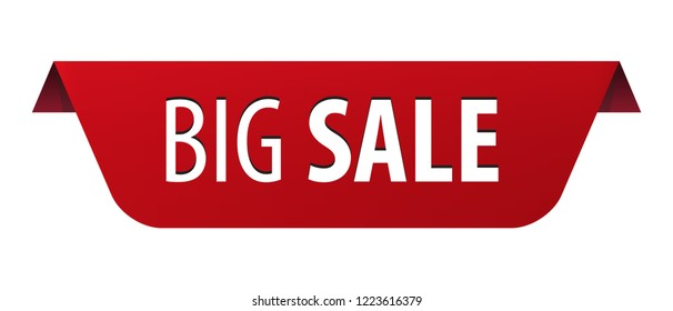 Big Sale red ribbon banner icon isolated on white background. Vector illustration