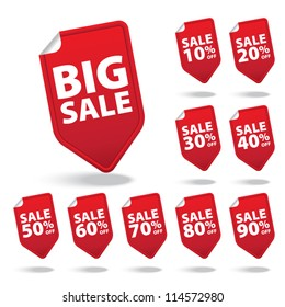 Big Sale red tags with sale various percent - Vector