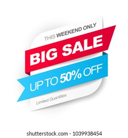 Big Sale. Save up to 50% off. Vector illustration.