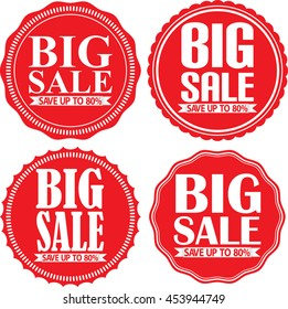 Big sale save up to 80% red label set, vector illustration