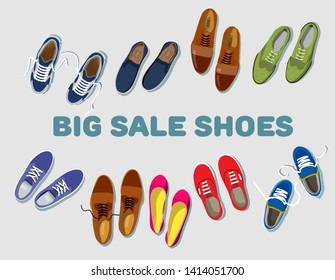 Big sale shoes. Sneaker sport. Shoe athletic. Fashion footwear. Concept set of vector red, blue, green, lilac, brown women's and men's footgear top view in flat style isolated on light gray background