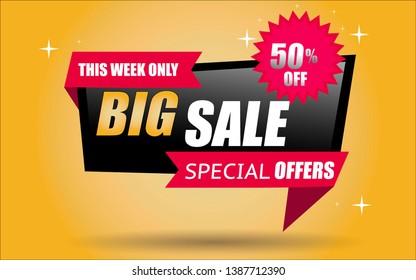 big sale special offer sale banner in vector format