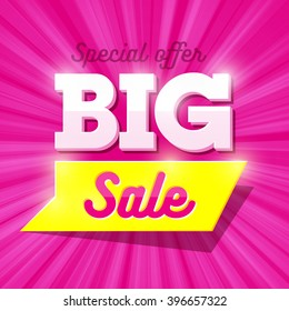 Big Sale special offer banner. Vector illustration.