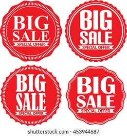 Big sale special offer red label set, vector illustration