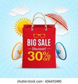 Big Sale Summer Concept Banner Card or Poster with Sun and Megaphone Symbol. Vector illustration