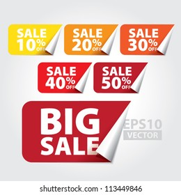 Big Sale tags with Sale 10 - 50 percent text on square sticker tags - EPS10 Vector