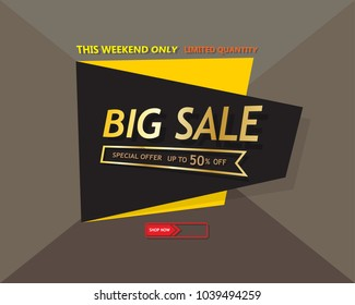 Big sale template banner, Special offer at discount up to 50% off. Vector illustration design. EPS10
