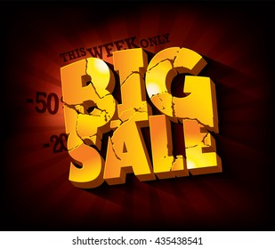 Big Sale typographic design with gold broken text against deep red rays backdrop. Vector illustration