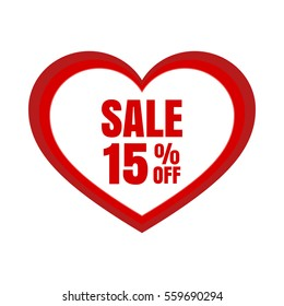 Big Sale for valentine's day, special offer. Vector illustration on a white background.