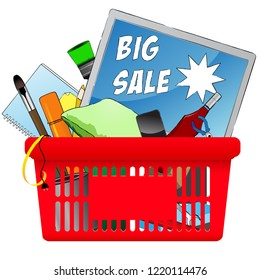 Big Sale, vector chopping card with objects