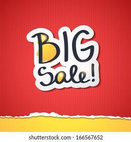 big sale, vector handwritten text