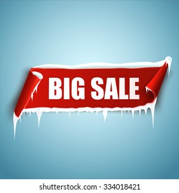 Big sale vector illustration. Red curved paper banner with snow and icicles. Ribbon