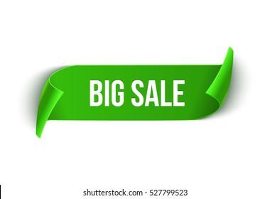Big Sale vector ribbon design template. Banner sale tag. Market special offer discount label.