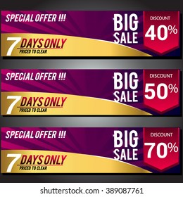 Big sale voucher, coupon and discounts poster, vector set, design for banner promotion.